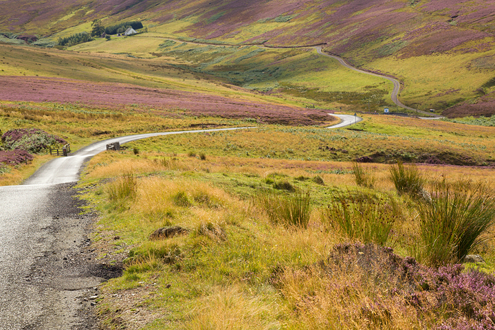 The long and windy road over the Lammermuir Hills.